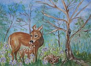 Ellen Levinson - Doe and Fawns in the...