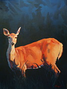 Game Painting Prints - Doe at Stockade Print by Patricia A Griffin