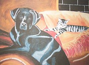 Couches Prints - Dog and cat Print by Daniel King