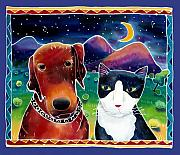 Batik Painting Posters - Dog and Cat in the Moonlight Poster by Harriet Peck Taylor