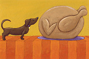 Dachshund Art Paintings - Dog and Turkey by Christy Beckwith
