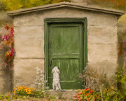 Maltese Dog Posters - Dog at the Door Poster by Andrea Auletta