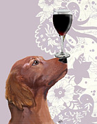 Wine Glass Prints Framed Prints - Dog Au Vin Framed Print by Kelly McLaughlan