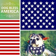 Pet Owner Digital Art Prints - Dog Bless America Print by Li Or