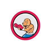 Dog Boxer Boxing Circle Cartoon Print by Aloysius Patrimonio