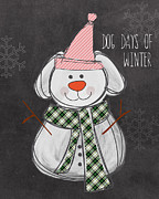 Snow Dog Mixed Media Posters - Dog Days  Poster by Linda Woods