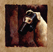 Yellow Dog Metal Prints - Dog Gas Mask Metal Print by Mark Zelmer