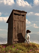 Watchdog Posters - Dog Guarding An Outhouse Poster by Daniel Eskridge