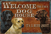 Black Lab Metal Prints - Dog House Metal Print by JQ Licensing
