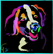 Dog Abstracts Framed Prints - Dog Iggy Color me bright Framed Print by Go Van Kampen