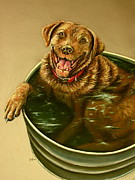 Lab Puppy Posters - Dog in a Bucket Poster by Jim Figora