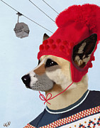 Snow Posters Prints - Dog in a Ski Jumper Print by Kelly McLaughlan