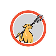 Dog Lacrosse Player Crosse Stick Cartoon Circle Print by Aloysius Patrimonio