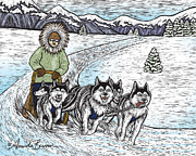 Dogs Drawings - Dog Musher by Amanda Brannon