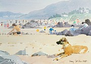 Hotels Painting Posters - Dog on the Beach Woolacombe Poster by Lucy Willis