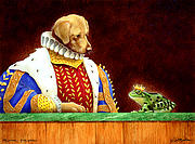 Yellow Lab Paintings - Dog Prince...Frog Prince... by Will Bullas