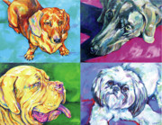 Dog Quartet Print by Derrick Higgins