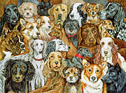 Collie Paintings - Dog Spread by Ditz