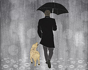 Pour Digital Art Prints - Dog walk in rain Print by Janet Carlson