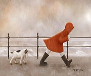 Cute Dogs Digital Art - Dog Walk by Marlene Watson