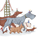 Whimsical Prints - Dog Walker Print by Christy Beckwith