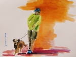 Watercolors Drawings - Dog Walker by John  Williams