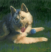 Oil Portrait Painting Originals - Dog Wants to Play by Alice Leggett