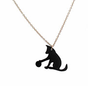Perspex Necklace Jewelry - Dog With a Ball Pendant Necklace by Rony Bank