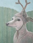 Antler Paintings - Dog with Antlers by Kazumi Whitemoon