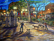 Washington Square Paintings - Doggie Talk In The Park by Arthur Robins