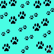 Paw Prints Digital Art - Doggy Paws by Absinthe Art By Michelle LeAnn Scott