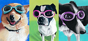 Boston Pastels Prints - Dogs in Goggles Print by Ria Hills