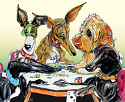 Dogs Playing Poker Posters - Dogs Playing Poker Poster by Canine Caricatures By John LaFree