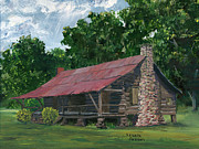 Tin Roof Paintings - Dogtrot House in Louisiana by Lenora  De Lude