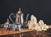 Silver Tea Pot Paintings - Dogwood and Daisies by Lori Miglioretti