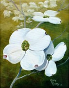 Tree Blossoms Paintings - Dogwood Blossoms by Mary Rogers