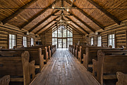 Cabin Interior Framed Prints - Dogwood Canyon Wilderness Chapel Framed Print by David Waldo
