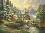 Stream Prints - Dogwood Chapel Print by Thomas Kinkade