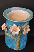 Blue Flowers Ceramics - Dogwood Fantasy Vase Hand built in USA by Debbie Limoli