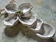 Stamen Ceramics - Dogwood Handbuilt Pottery Cross by Amanda  Sanford