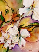 White Flowers Paintings - Dogwood in Spring Colors by Lil Taylor