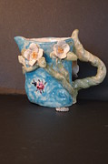 Vine Ceramics - Dogwood ladybug pitcher Handmade in USA by Debbie Limoli