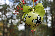 Round Ceramics - Dogwood Majolica Maiolica Ornament by Amanda  Sanford