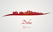 Qatar Digital Art Framed Prints - Doha skyline in red Framed Print by Pablo Romero