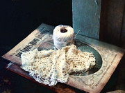 Susan Savad Prints - Doily and Crochet Thread Print by Susan Savad
