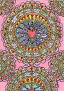 Doilies Prints - Doily - Heart Filled Print by Mag Pringle Gire