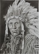 Native American Drawings Posters - Dokata Chief Poster by Brian Broadway