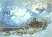 Romanticism Posters - Dolbadern castle and Llanberis Lake 1799 Poster by Joseph Mallord William Turner