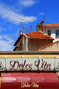Roofs Acrylic Prints - Dolce Vita Cafe In Saint-Raphael France by Ben and Raisa Gertsberg