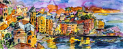Cinque Terre Paintings - Dolce Vita In Vernazza Italy by Ginette Callaway
